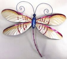 Dragonfly w/purple highlights capiz finish metal wall art home decor