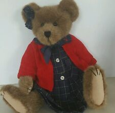 """Boyds Bear Girl Red Sweater Archive Series 17"""" #1364  Brown Jointed Plush Bear"""