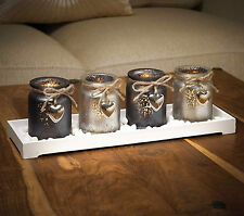 Heart Candle Set White Wooden Tray & 4 x Grey Silver Glass Candle Holders NEW