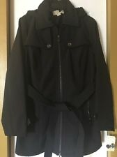 NWT MICHAEL KORS Woman's Rain Jacket Coat Trench Black sz Large