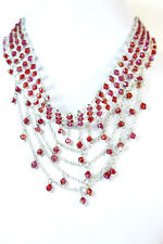 ELEGANT LADIES SILVER CHUNKY LAYERED RED DROP CHOKER UNIQUE STATEMENT PIECE(SR2)