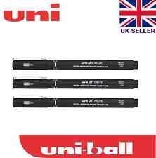 3 X Uni Pin Dibujo Bolígrafo Fineliner ultra fina línea ancho de línea de rotulador en Negro 0.2