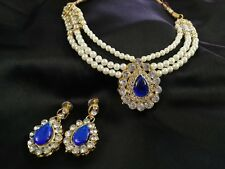 Bollywood Gold Plated Pearl Jewelry Indian Bridal Women Necklace GE_SCDEAL_BLUE