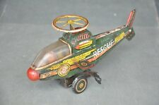Vintage Rescue No.8 Wind Up Litho Helicopter Tin Toy , Rich Patina