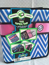 "CASE IT Open Tab 2"" 3 Ring  Binder Blue Chevron Stripe With Pink Closure S-818-P"