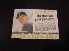 VINTAGE 1961 Post Cereal #128 Bill Mazeroski, Pittsburgh Pirates, LOOK!!