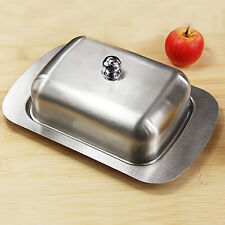 Double Stainless Steel Butter Dish Table Serving Tray Storage Durable With Lid