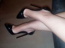 High Heels Stiletto Dorsay Pumps in Schwarz Lack mit 13 cm absatz in Gr. 39