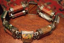 Antique Scottish Agate & Silver Bracelet