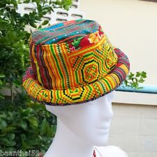 Vintage Hat Handmade Hmong Hill Tribe Thailand Bowler Hippy Boho Cotton Gift # 1