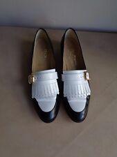 Salvatore Ferragamo 7 1/2 2A black/white ghillie loafers flats gold buckle