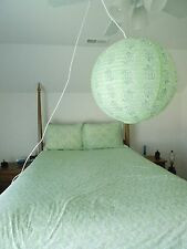 Pottery Barn Teen Full Queen Duvet Cover & Two Shams Lime Green Paisley & Light