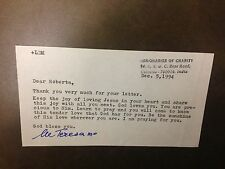 MOTHER TERESA  SIGNED LETTER  100% AUTHENTIC  SIGNATURE  RARE
