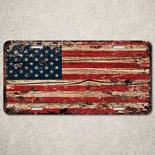 LP0123 American flag Auto License Plate Rust Vintage Home Store Decor Sign