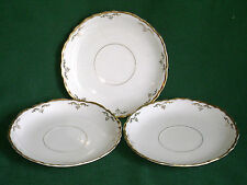 3 Vintage Pope Gosser China Saucers Gold Scrolls & Dots