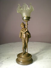 VICTORIAN MINSTRAL FIGURINE BOY TABLE LAMP VINTAGE GLASS PETAL SHADE