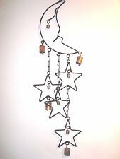 Wind Chime Crescent Moon & Stars - Black Wrought Iron with Rustic Bells Handmade