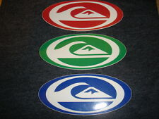 LOT OF 3 QUIKSILVER STICKERS-RED GREEN AND BLUE NEW & UNUSED DECALS