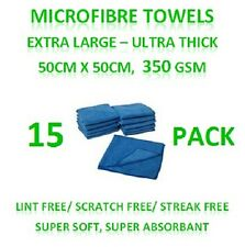 New 15 Microfibre Towels - Extra Large Thick Cleaning Cloths 50cm x 50cm 350GSM