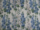 SANDERSON CURTAIN FABRIC DESIGN Hollyhocks 4.5 METRES SAPPHIRE/GREEN DVIN224308