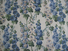 SANDERSON CURTAIN FABRIC DESIGN Hollyhocks 2.6 METRES SAPPHIRE/GREEN DVIN224308