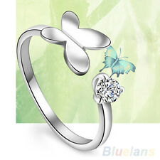Women's Fashion Silver Plated Rhinestone Gift Adjustable Butterfly Opening Ring