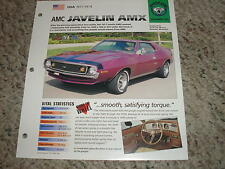 USA 1971-1974 AMC Javelin AMX Hot Cars Muscle Group 4 # 80 Spec Sheet Brochure