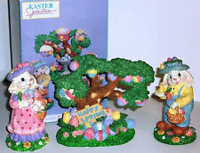 "Happy Easter 3 piece Bunny Family ""Happy Spring"" all in Original box"