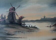 Original Impressionist Dutch Windmill River Oil Painting/Art Signed Wilkie Frame