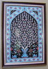 "Black & Blue 17""x25"" Tree of Life Turkish Handpainted Iznik Tile PANEL MURAL"