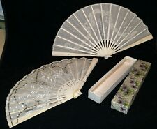 2 antique victorian ladys hand fans cow bone with ornate box