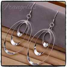 925 Sterling Silver 3 Oval Hoop Triple Drop Dangle Hook Earrings Gift