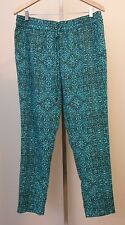 Coldwater Creek Natural Fit Womens Blue Brown Elastic Waist Pants Size Large 14