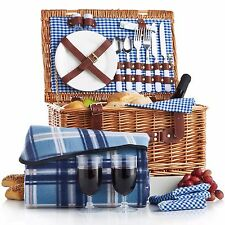 VonShef Deluxe 2 Person Stylish Traditional Strong Wicker Picnic Basket Hamper
