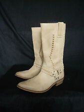 CARVELA MADE IN PORTUGAL QUALITY CREAM REAL LEATHER COWBOY STYLE BOOTS SIZE 38 5