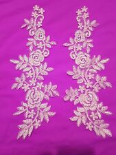 Light pink flower bridal wedding embroidery patch lace applique motif dance