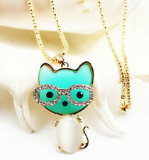 New fashion lovely plating 14k blue cat necklace Christmas gift k249