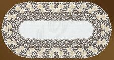 """Oval floral white/dark gold lace table runner (24""""x 47"""")(60-120 cm) perfect gift"""