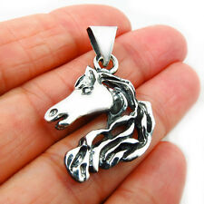 Horse Head 925 Sterling Solid Silver Equestrian Pendant