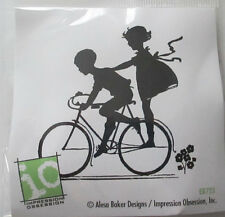 Impression Obsession Fun Friends Silhouette cling mnt rubber stamp bike kids