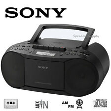 Sony Portable CD FM AM Boombox Radio Cassette Tape Aux Input Black CFD-S70BK