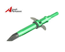 Archery Hunting Broadhead 2 Fixed Blades Arrow Heads Crossbow Arrowhead Green