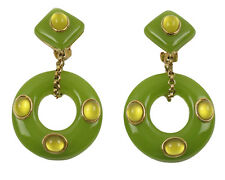 Replica Collection Italy Signed Gilt Metal & Green Resin Dangling Clip Earrings