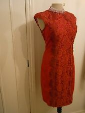 ALBERTO MAKALI designer RED LACE BACKLESS COCKTAIL DRESS UK SIZE 12 USA 8 BNWT