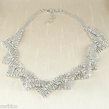 N5 Vintage Style Silver Plated Rhinestone Crystals Statement Necklace