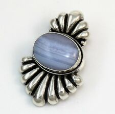 Carolyn Pollack Relios Sterling Silver Blue Lace Agate Ribbed Pendant