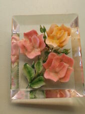 VINTAGE 1950 REVERSE CARVED ROSE FLOWER LUCITE MIXED COLOR PIN BROOCH