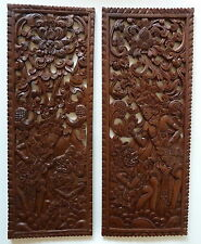 Vintage Balinese Carved Wood Panel Story Boards Hanuman Lord Rama, Bali