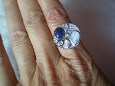 Lapis Lazuli & Moonstone ring, size N/O, 3.23 carats, in 46.08 grams of 925 SSil