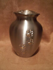 """Beautiful Pewter w/Gold Walking  Paw Prints Brass Pet Urn~6""""~for up to 40 Lbs"""
